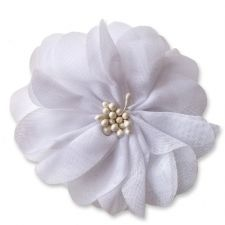 7cm Cherry Blossom WHITE Fabric Flower Applique